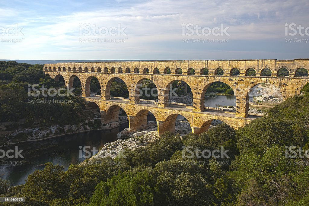 Roman aqueduct Pont du Gard royalty-free stock photo