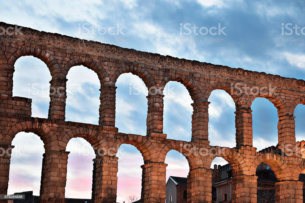 Roman Aqueduct Segovia Spain stock photo