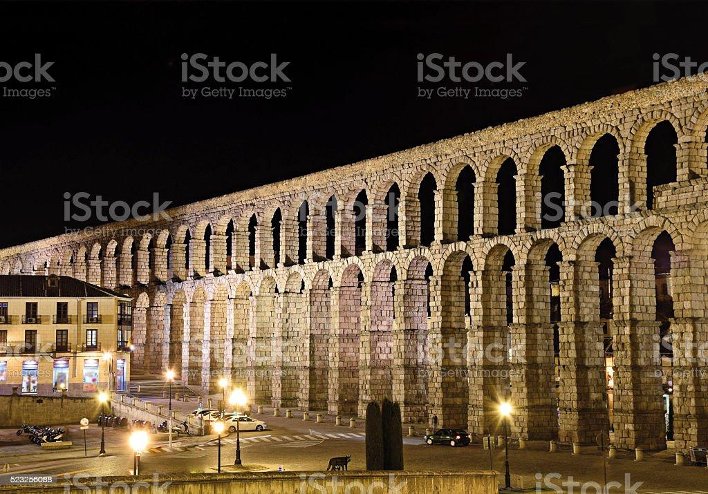 Roman Aqueduct Segovia Spain stock photo