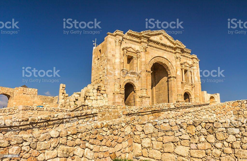Roman Arch in Jerash Jordan stock photo