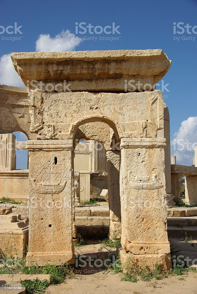 Roman arch in Libya stock photo
