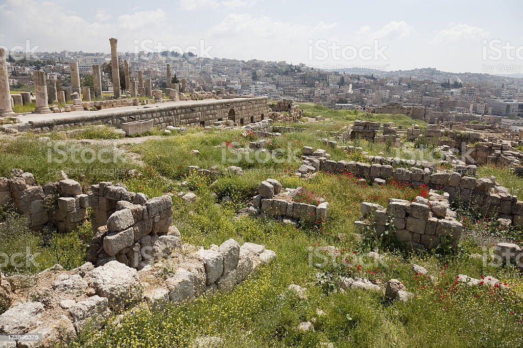 Roman architecture in Jerash royalty-free stock photo