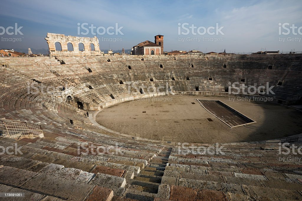 Roman Arena in Verona stock photo