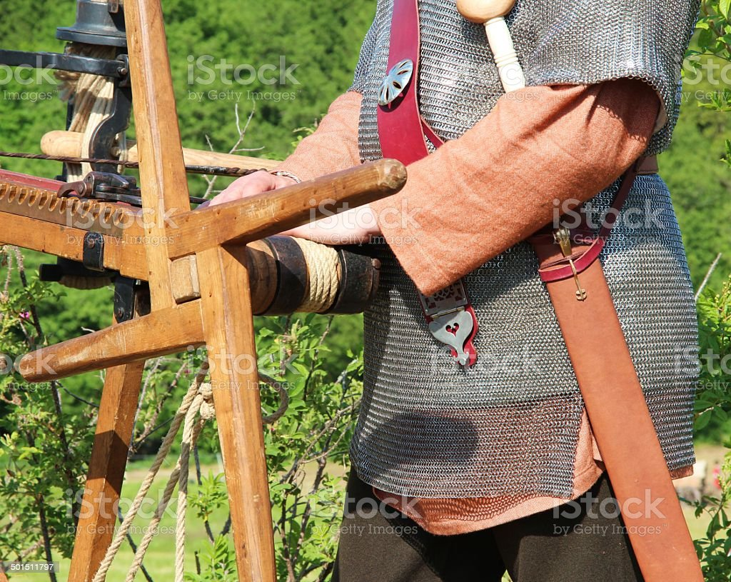 Roman at arrow shoot weapon royalty-free stock photo