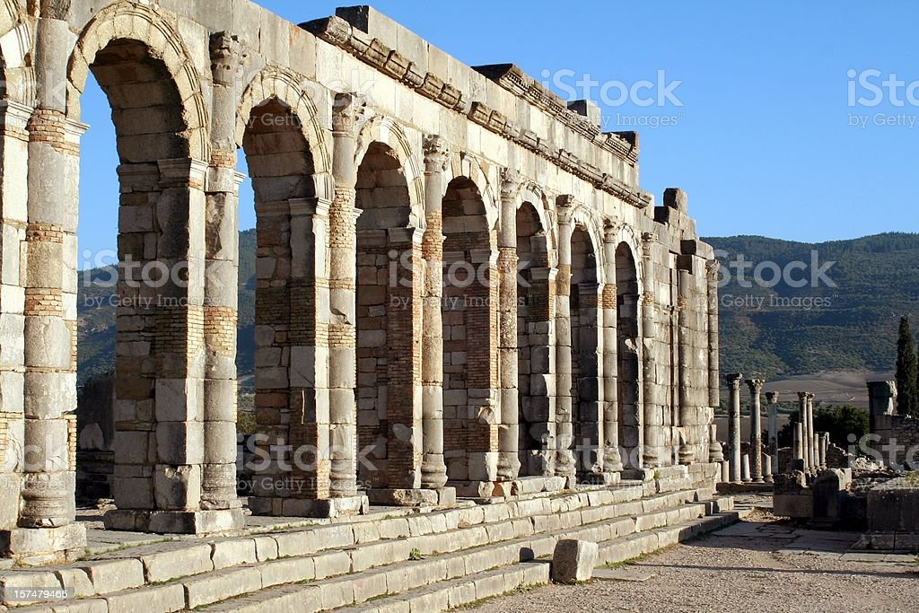 Roman basilica at Volubilis stock photo