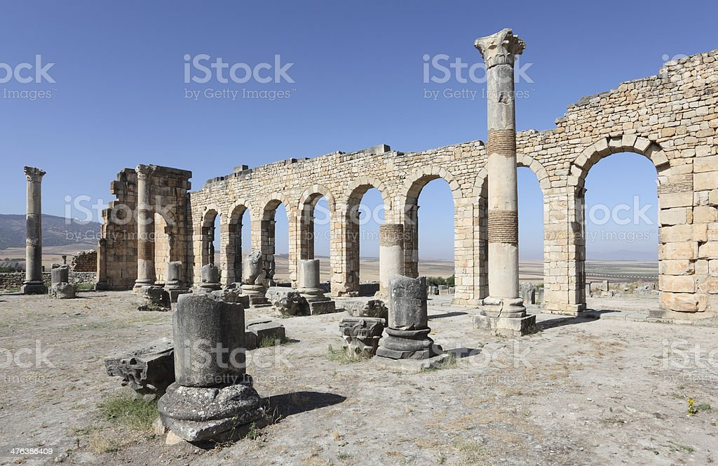 Roman basilica ruins in Morocco stock photo