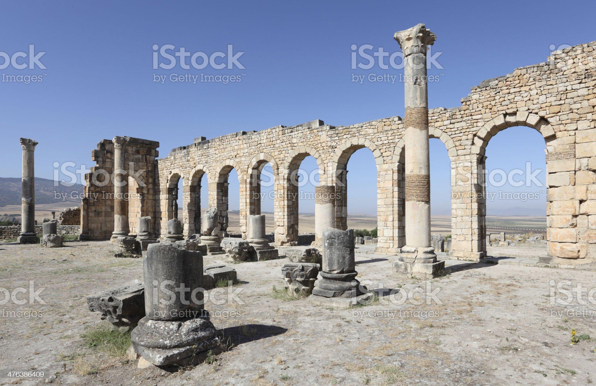 Roman basilica ruins in Morocco royalty-free stock photo