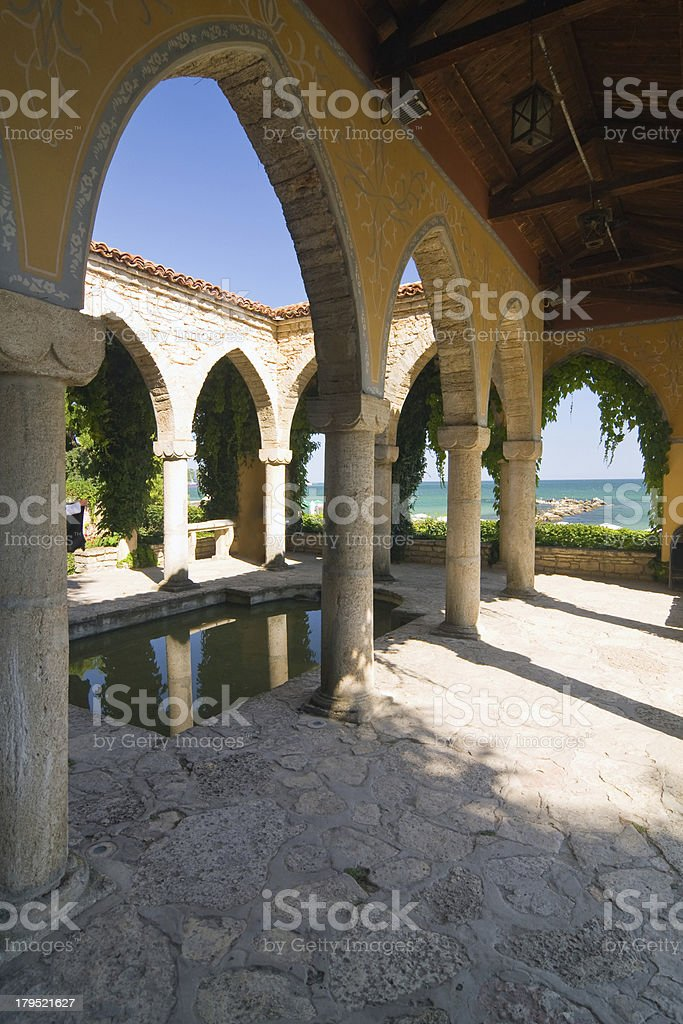 Roman bath in the yard of Balchik palace , Bulgaria royalty-free stock photo