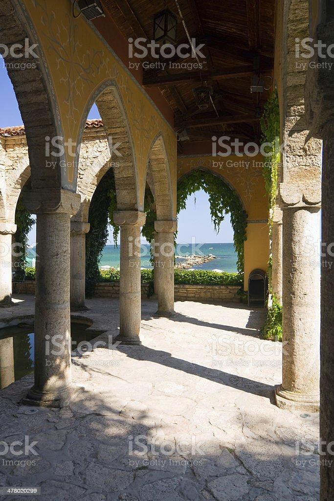 Roman bath in the yard of Balchik palace , Bulgaria royalty-free stock photo