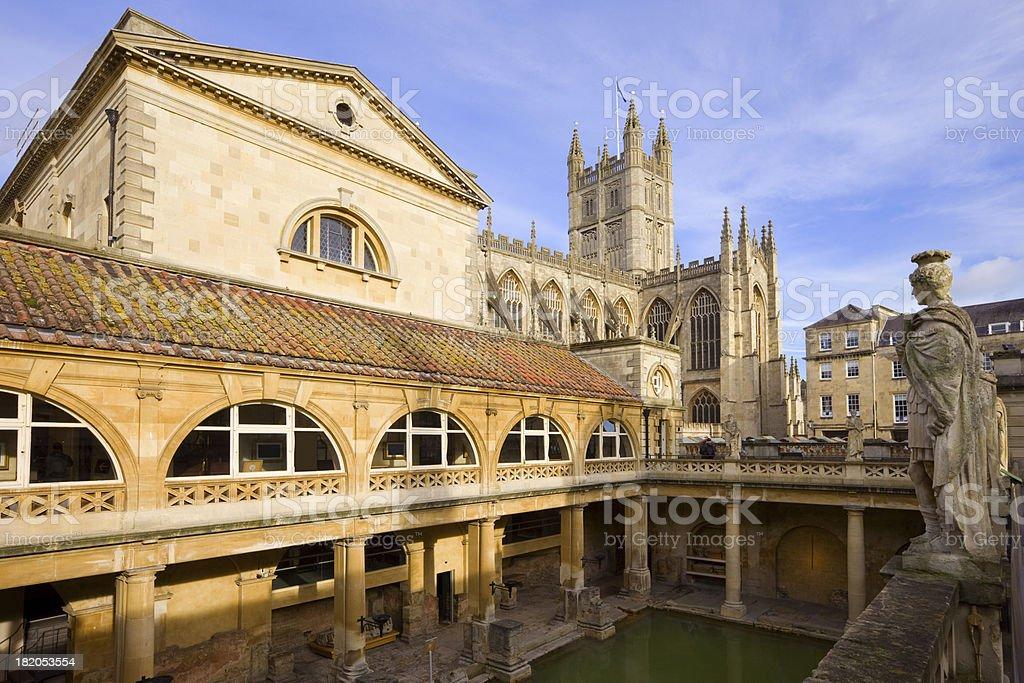 Roman Baths and the Bath Abbey in Bath England Somerset stock photo