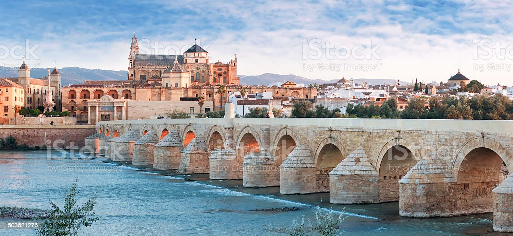 Roman Bridge and Guadalquivir river, Great Mosque, Cordoba, Spai stock photo