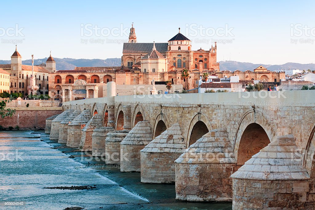 Roman Bridge and Guadalquivir river, Great Mosque, Cordoba, Spain stock photo