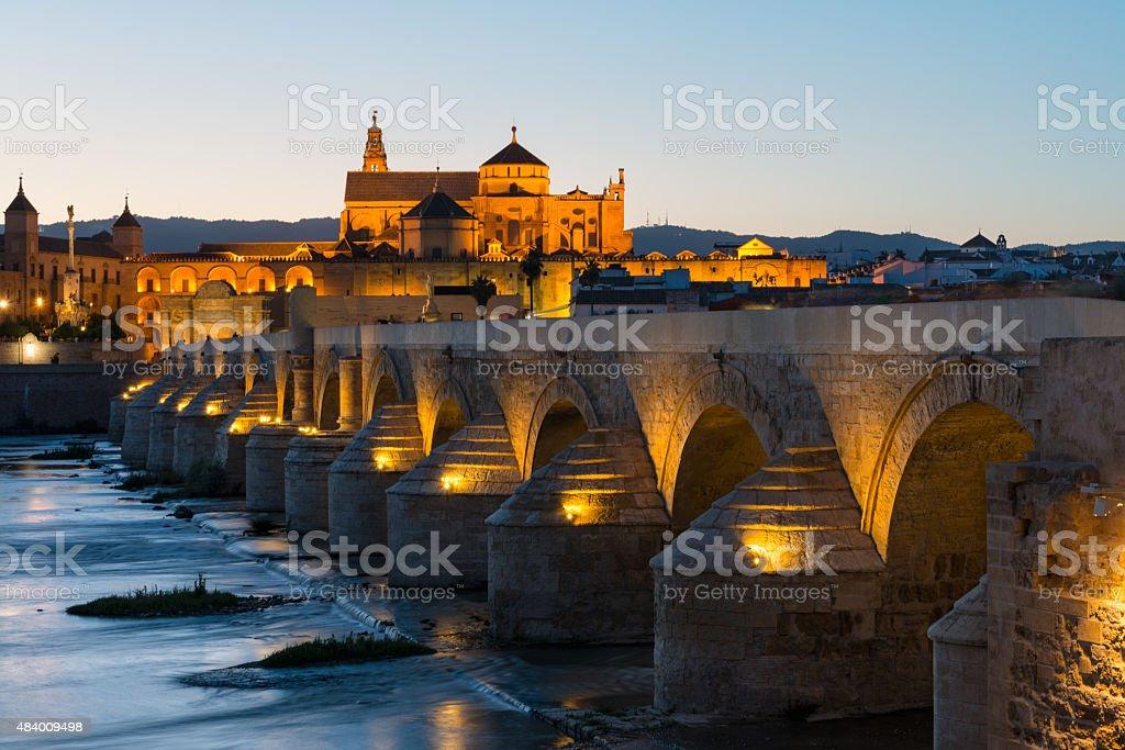 Roman bridge and Mosque-Cathedral in Cordoba stock photo
