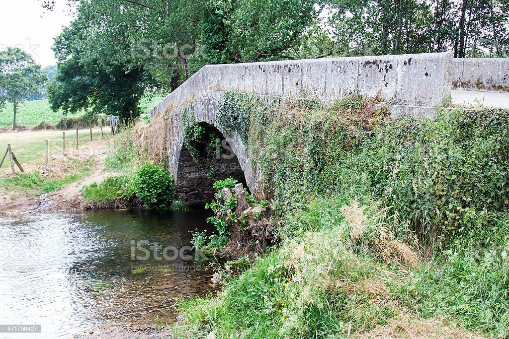 Roman bridge at Camino de Santiago royalty-free stock photo