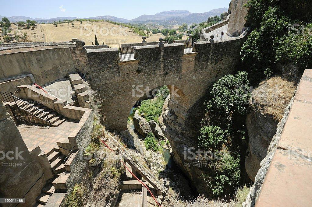 Roman bridge, famous white village in Ronda, Málaga, Andalusia, Spain stock photo