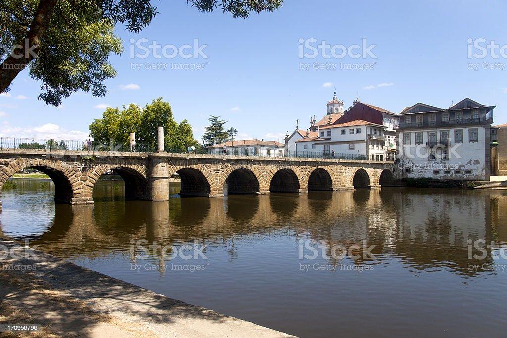 Roman Bridge in Chaves stock photo