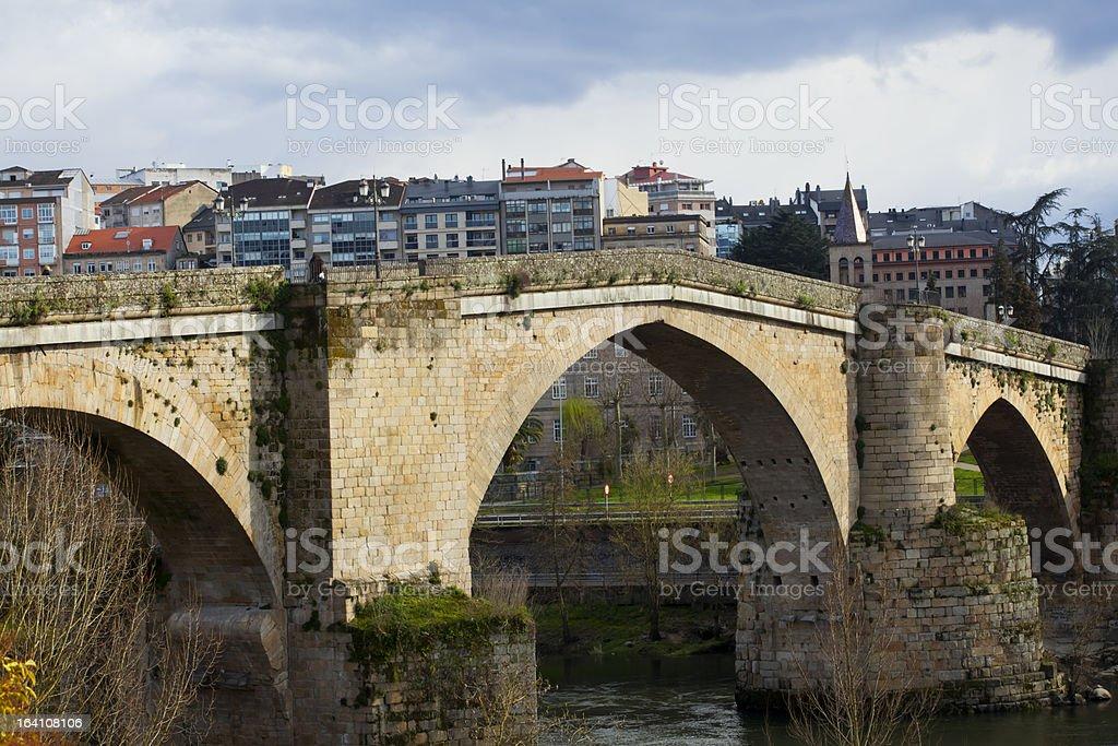 Roman bridge in Ourense, Spain royalty-free stock photo