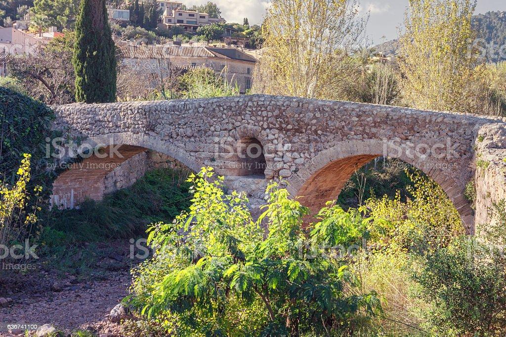 Roman bridge in Pollenca, Mallorca, Spain stock photo
