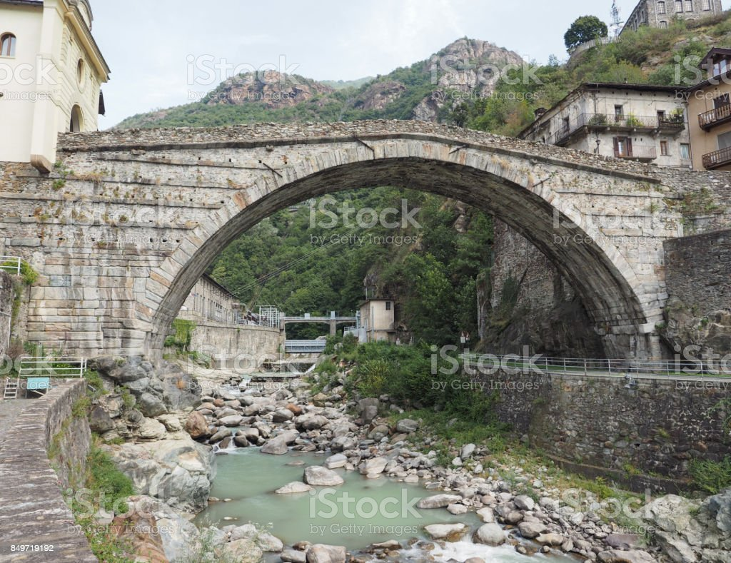 Roman bridge in Pont Saint Martin stock photo