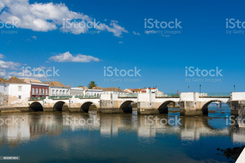 Roman bridge in Tavira, Algarve stock photo