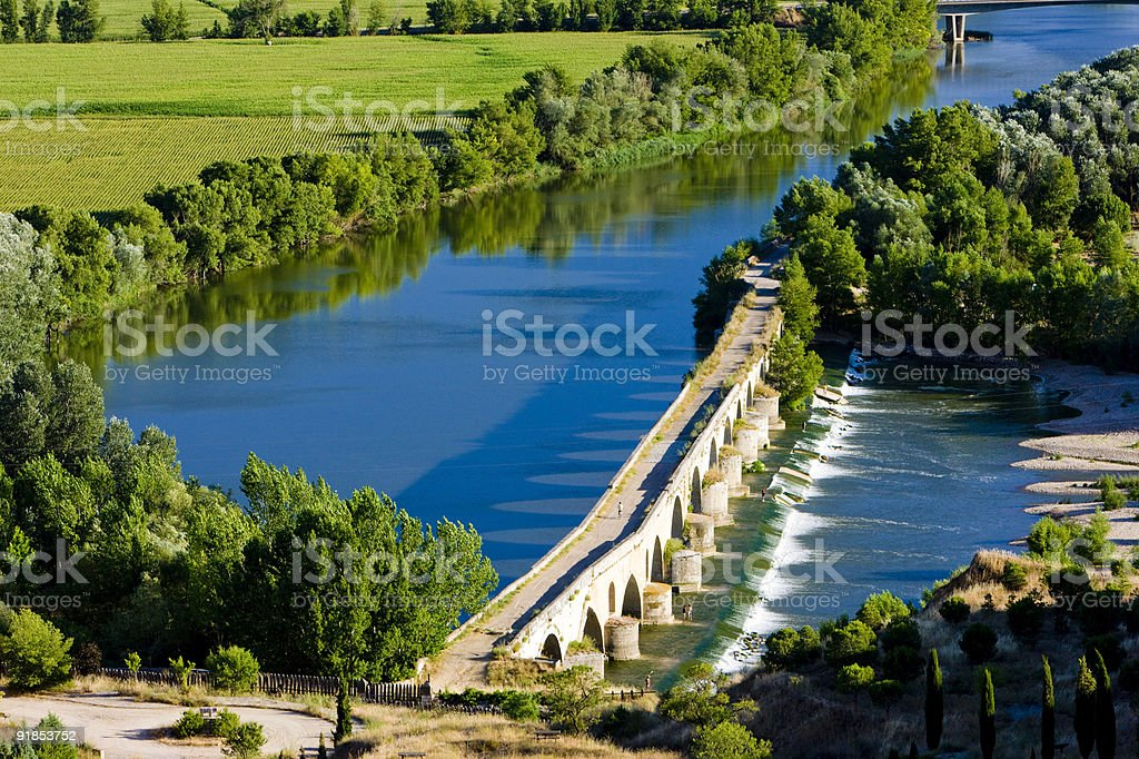 Roman bridge in Toro stock photo