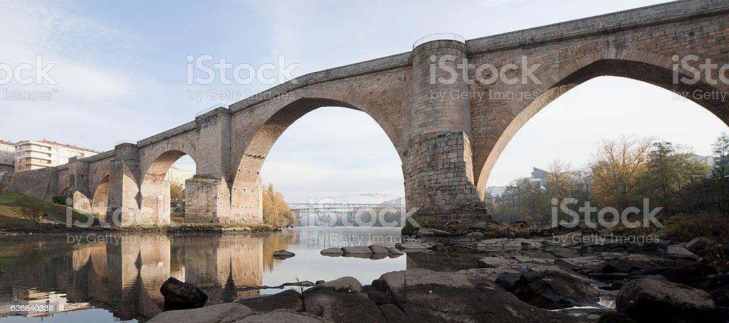 Roman Bridge, Ourense, Galicia, Spain stock photo