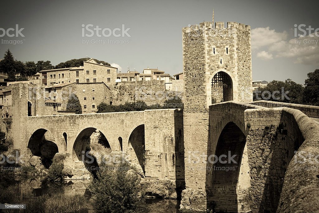 Roman Bridge to Besalu stock photo