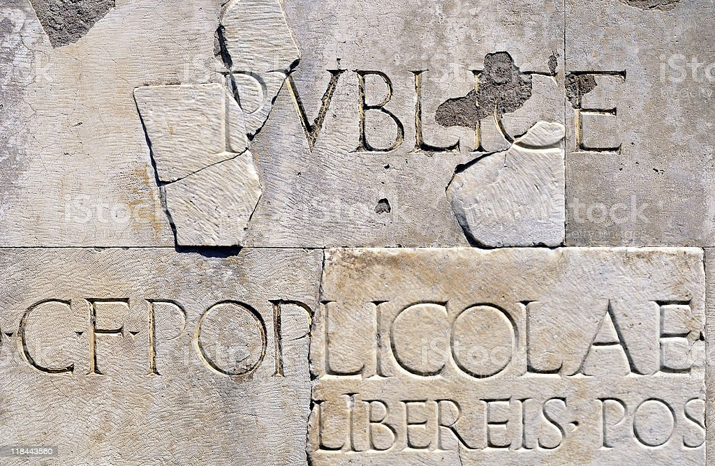 Roman Carved Lettering royalty-free stock photo