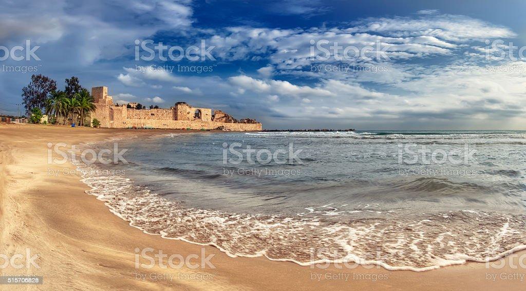 Roman Castle and Beach at Turkey stock photo