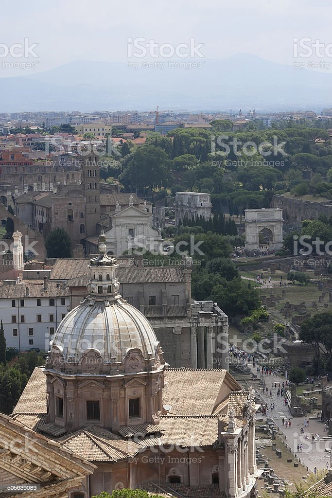 Roman Cathedral And Ruins stock photo