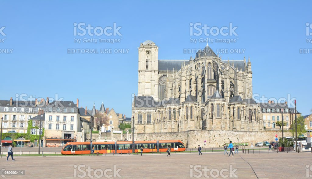 LE MANS, FRANCE - APRIL 03, 2017: Roman cathedral of Saint Julien at Le mans Sarthe, Pays de la Loire, France stock photo