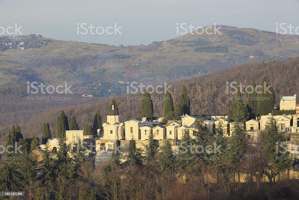Roman Catholic cemetery in Italy stock photo
