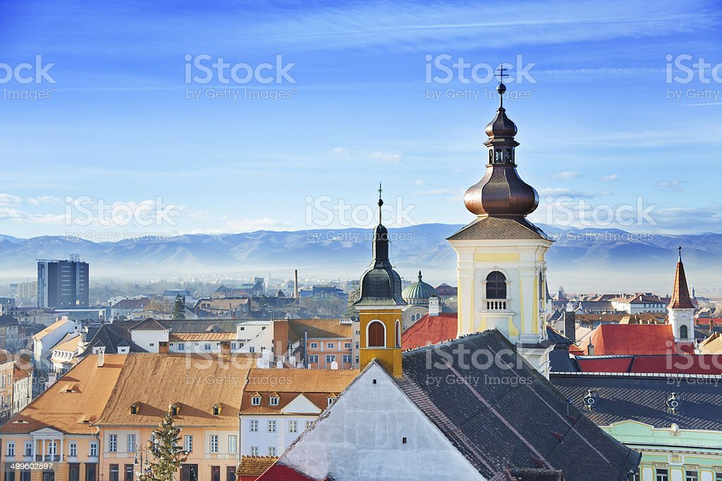Roman Catholic Church and old town in Sibiu stock photo