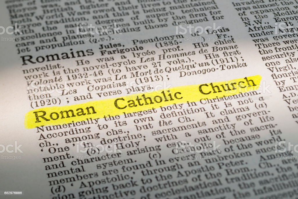 Roman Catholic Curch - dictionary definition highlighted stock photo