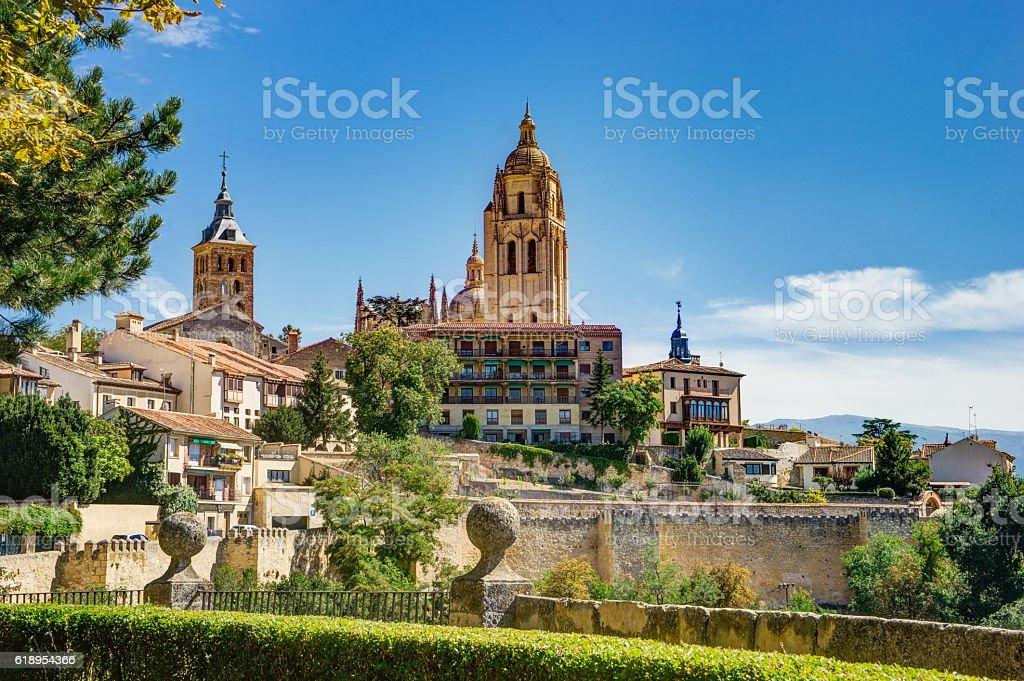 Roman Catholic Segovia cathedral at evening, Spain stock photo