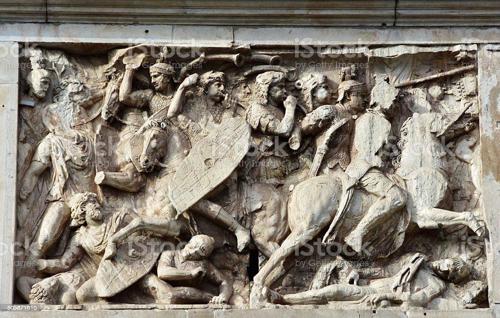 Roman cavalry tramples dacian barbarians stock photo