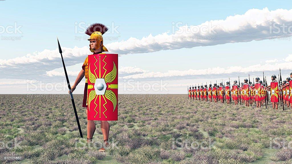 Roman centurion and legionaries stock photo