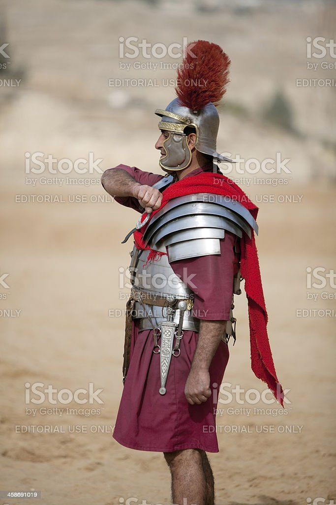 Roman centurion saluting - Jerash, Jordan stock photo