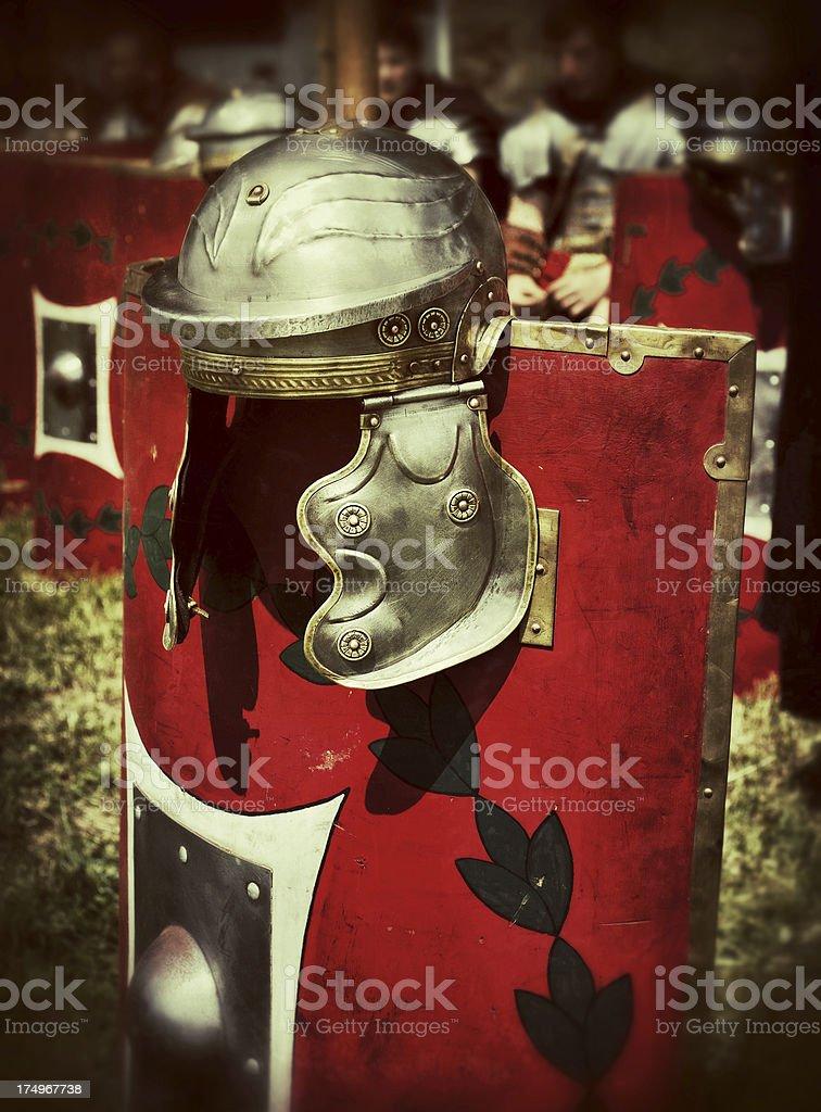 Roman Centurion Soldier Helmets and Shields stock photo