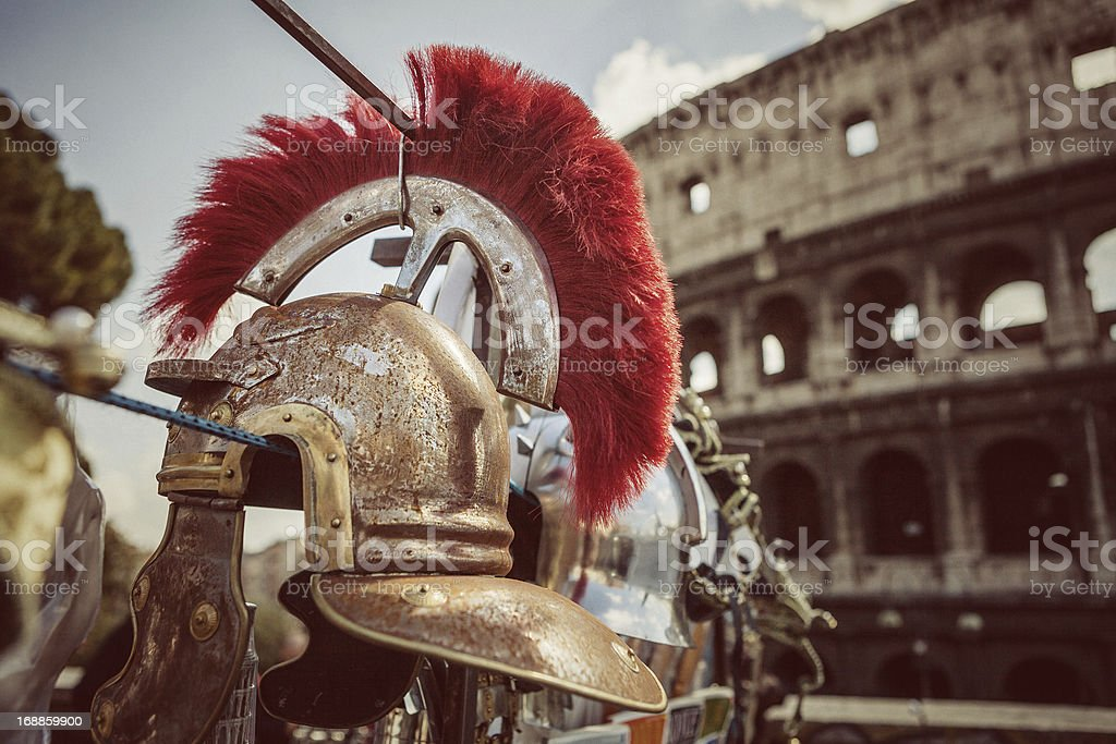 Roman Centurion Soldier Helmets and the Coliseum stock photo