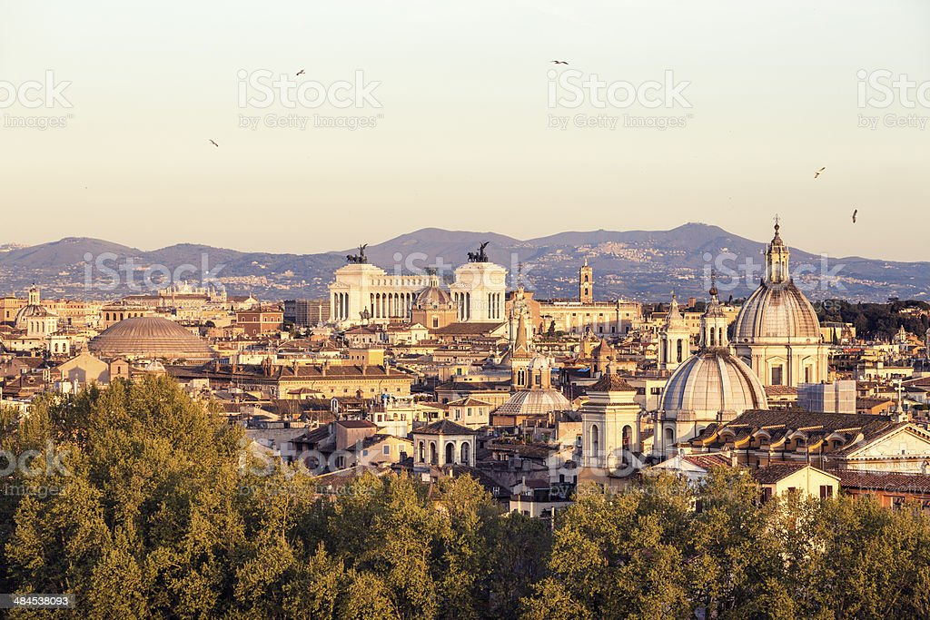 Roman citscape panorama at sunset, Rome Italy royalty-free stock photo