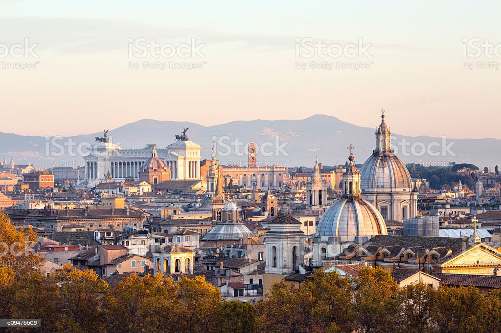 Roman citscape panorama at sunset, Rome Italy stock photo