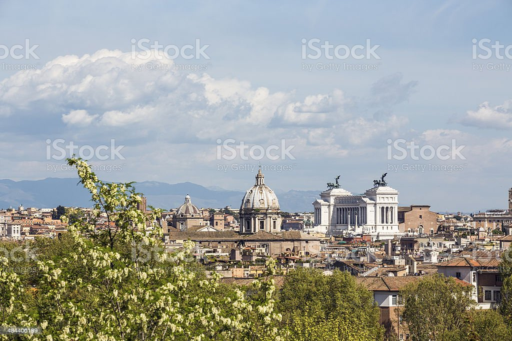Roman citscape panorama in April, Rome Italy royalty-free stock photo