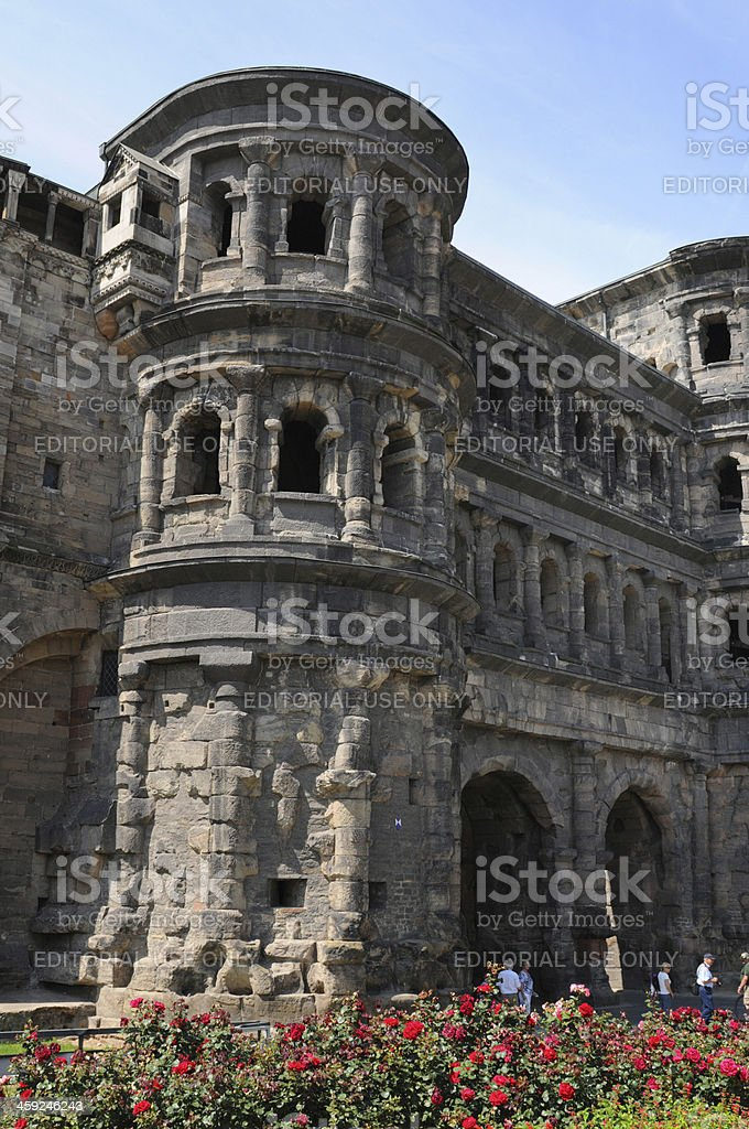 Roman city gate Porta Nigra in Trier (Germany) stock photo