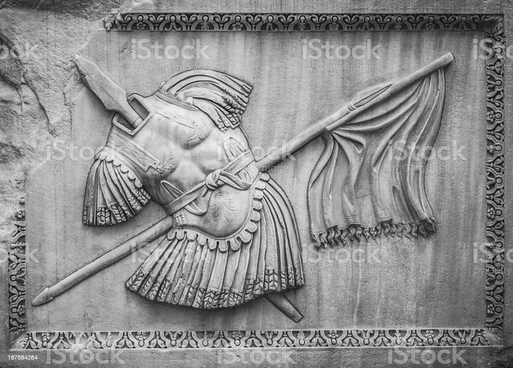 Roman coat of arms bas relief stock photo