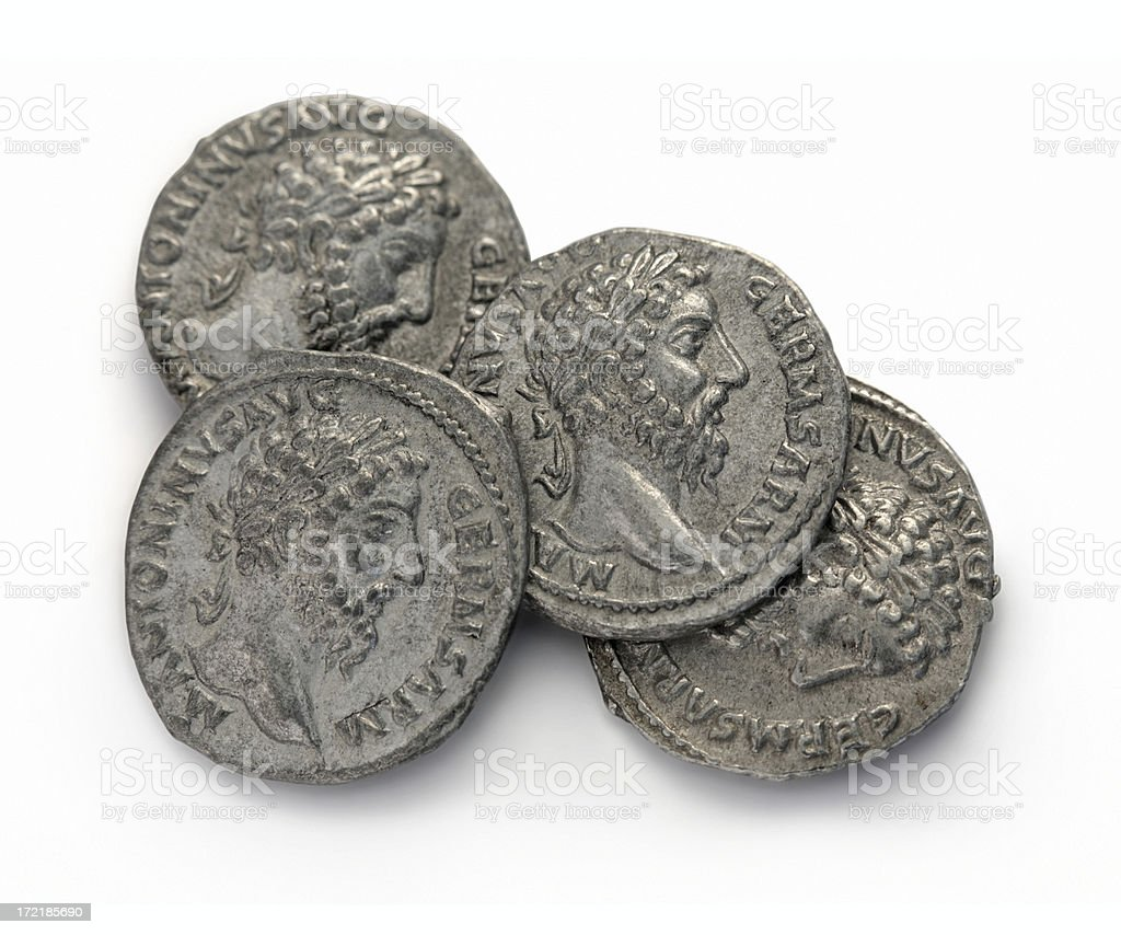 Roman coins - Marcus Aurelius stock photo