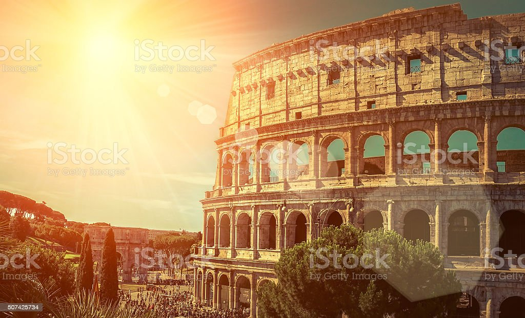 Roman Coliseum, most popular travel place in world stock photo