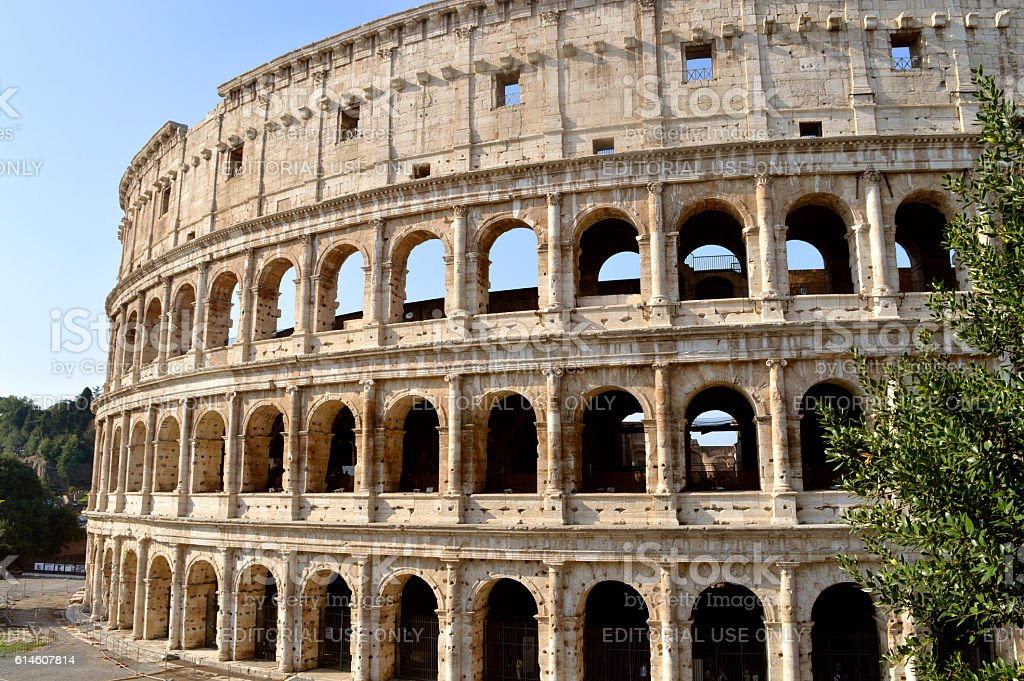 Roman Colosseum Amphitheatre in Rome stock photo