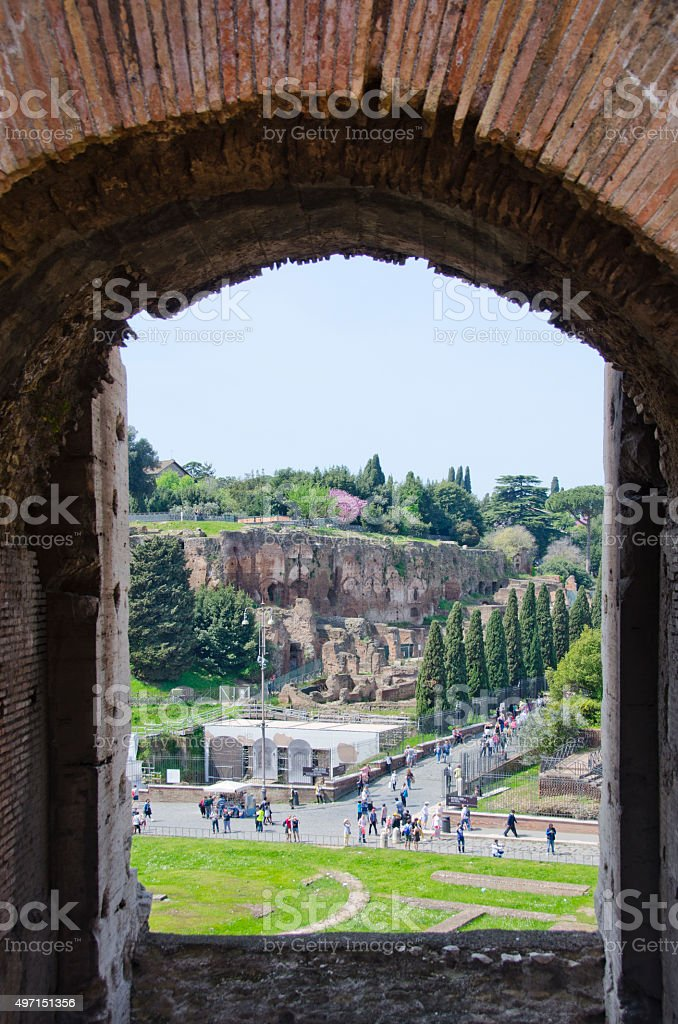 Roman Colosseum and Palatine Hill in Spring stock photo