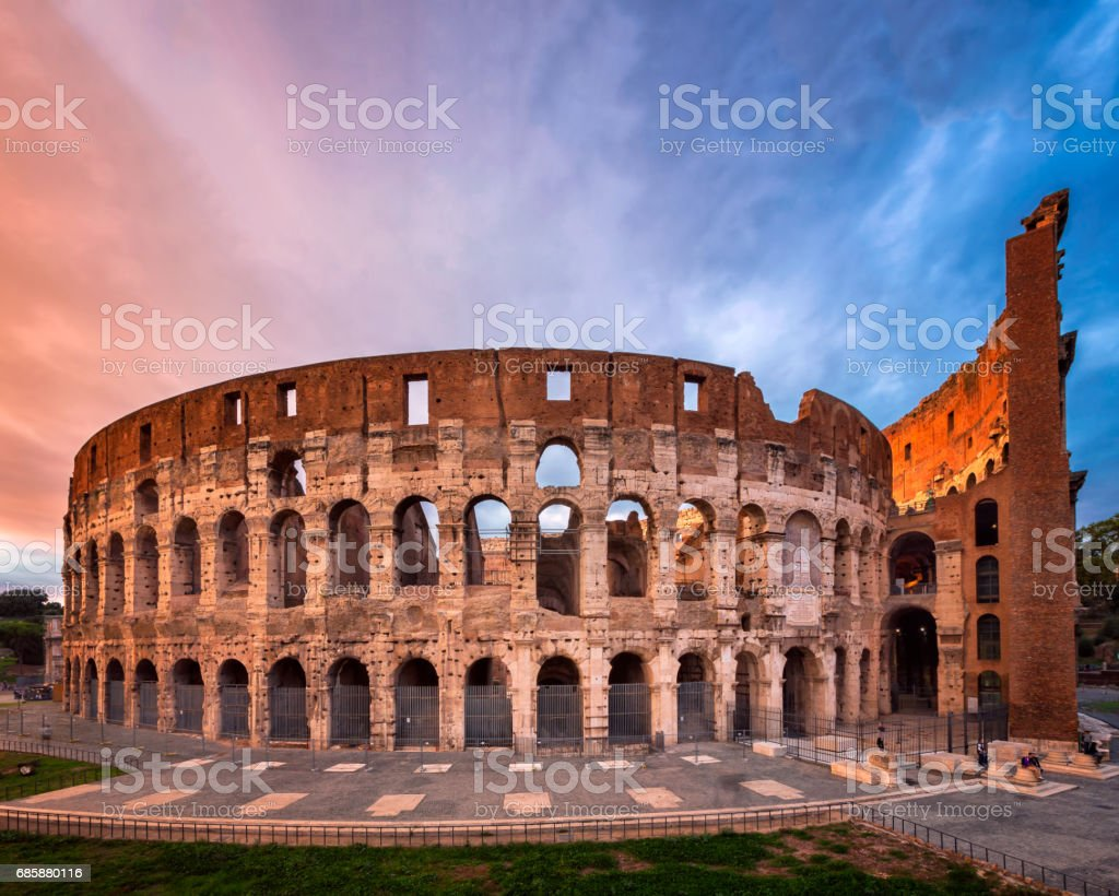 Roman Colosseum (Flavian Amphitheatre) in the Evening, Rome, Italy stock photo
